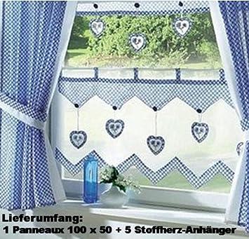 Fertigdeko Küchen Store Im Landhaus Stil Gardine Panneaux Mit 5  Herz Anhänger