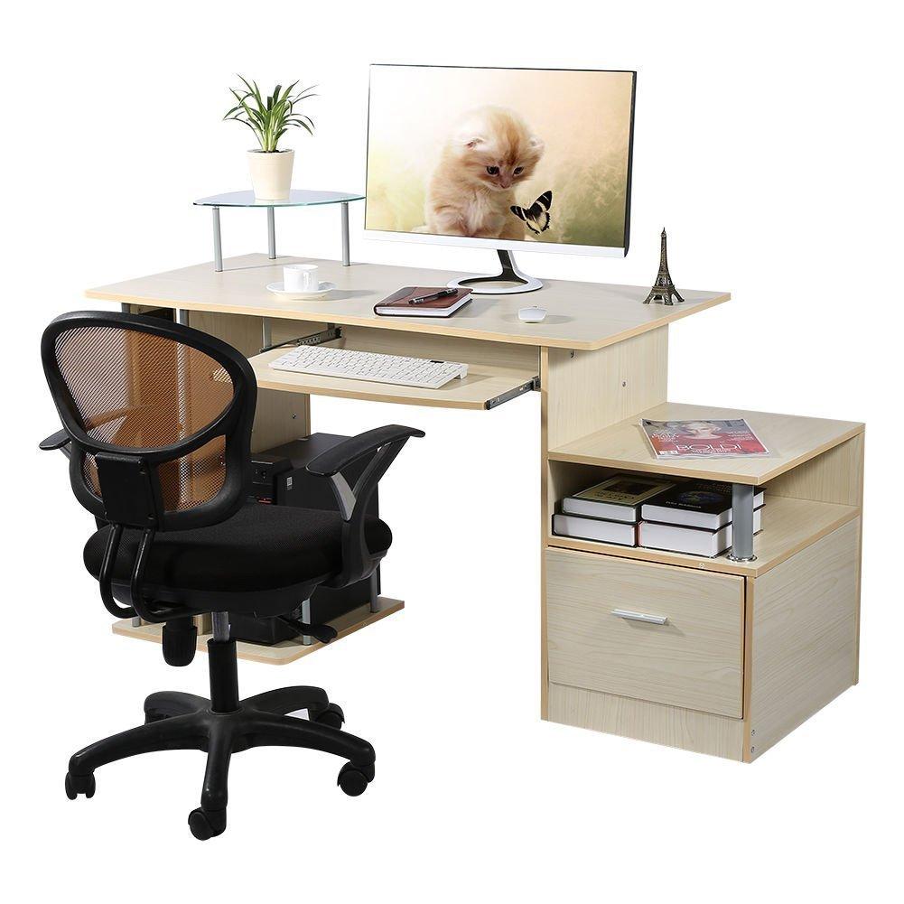 Computer Desk Scrivania ufficio porta pc Tavolo , con Ripiani Tastiera Ripiano Scorrevole Tavoli riunioni, Colore Rovere Teak Yosoo