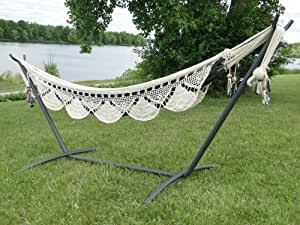Nicaraguan Handmade Outdoor Cotton Hammock with Universal Hammock Stand - Sets up in 3 Minutes ot Less