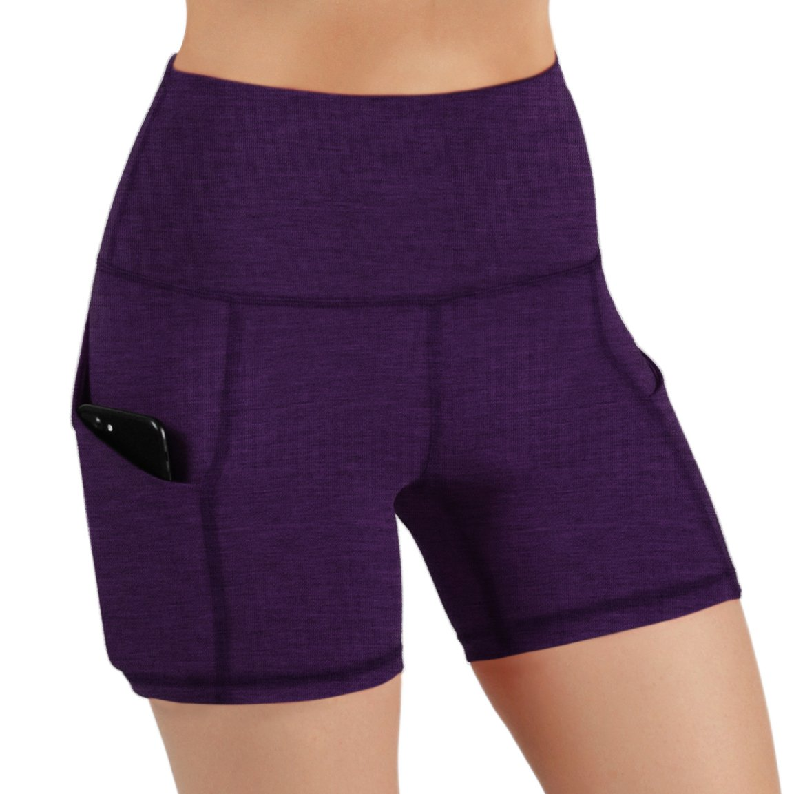 ODODOS High Waist Out Pocket Yoga Short Tummy Control Workout Running Athletic Non See-Through Yoga Shorts,DeepPurple,X-Small