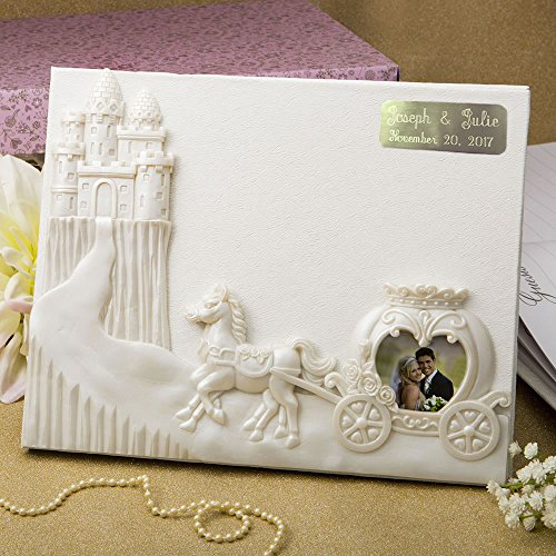 Guest Engraved Book (Engraved Personalized Fairytale Design / Cinderella Themed Wedding Guest Book)