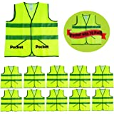 CIMC, 10 Pack,Yellow Reflective Safety Vests with Pockets, High Visibility Construction Vest,Hi Vis Sliver Strip,Made from Neon Yellow Breathable Mesh,Working outdoor for man,woman (yellow)