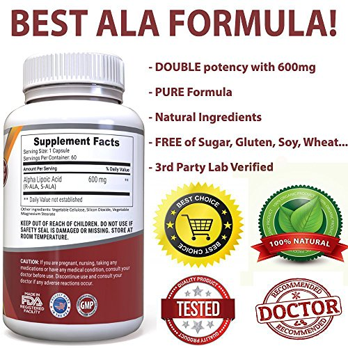 Alpha Lipoic Acid Supplement 600mg Capsules w R-Lipoic Acid - Potent Natural Antioxidant Formula To Lower Blood Sugar Defend Against Free Radicals amp Promote Cardiovascular Heart Health Discount