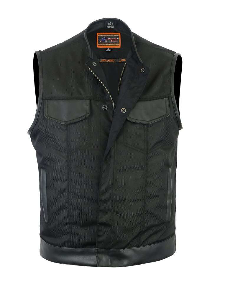 Concealed Snap Closure Textile Vest - L