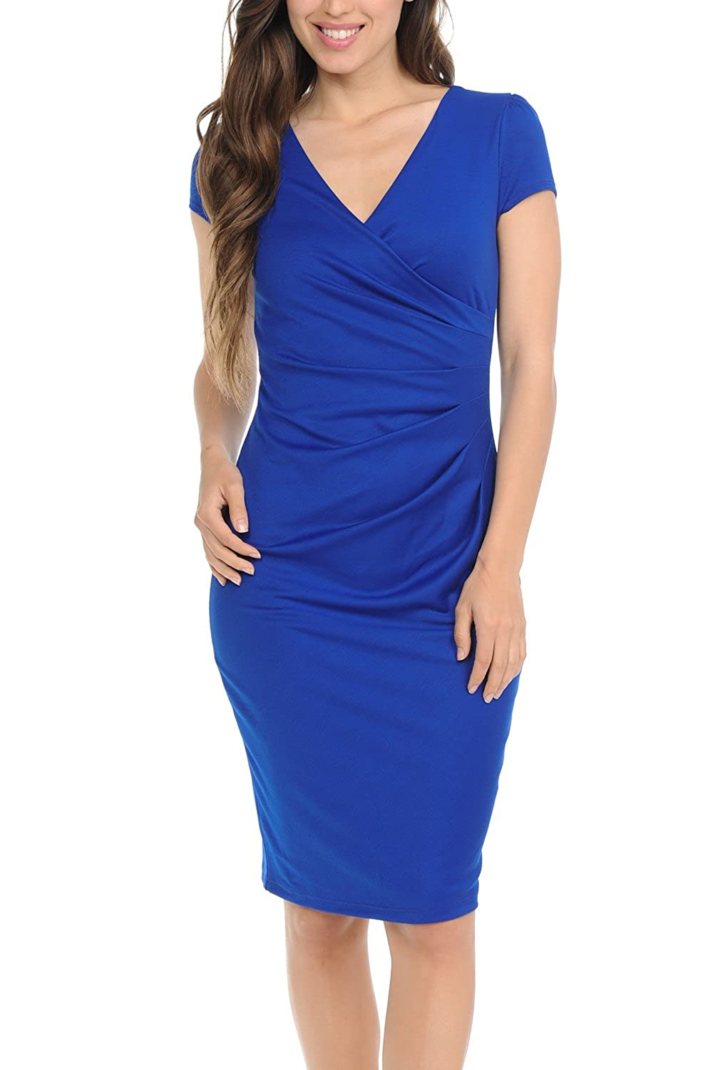Royal bluee Auliné Collection Womens VNeck Zip Up Work Office Career Side Wrap Sheath Dress