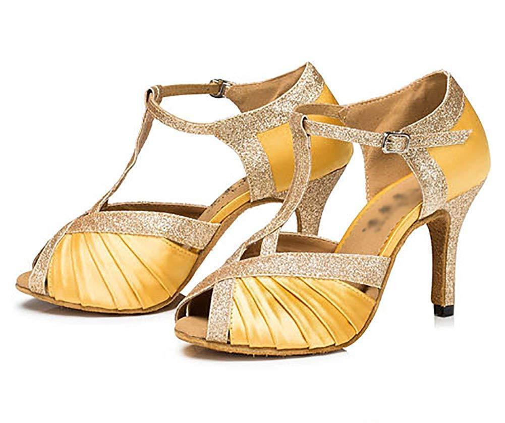 ZHRUI Lateinamerikanische Tanzschuhe der Frauen, High Heels Soziale Soziale Soziale Tanzschuhe Weiche Unterseite Square Dance Schuhe (Farbe   Champagner, Größe   Foot Length=22.8CM9Inch) b23a3c