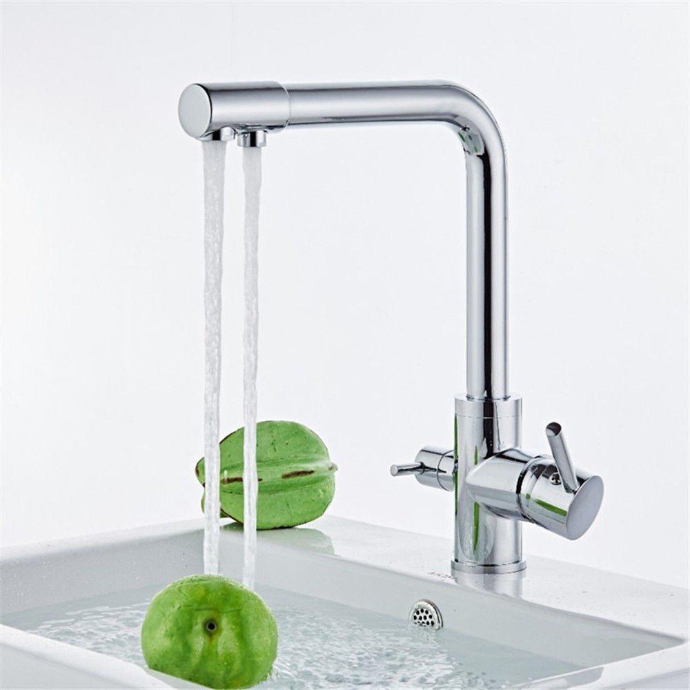 MEIBATH Wasserhahn Küche Spültisch Armatur Küchenarmatur Spültischarmatur Wasserkran Mischbatterie Messing Warmes und kaltes Wasser 1 Bohrung 2 Hebel Wasserhahn
