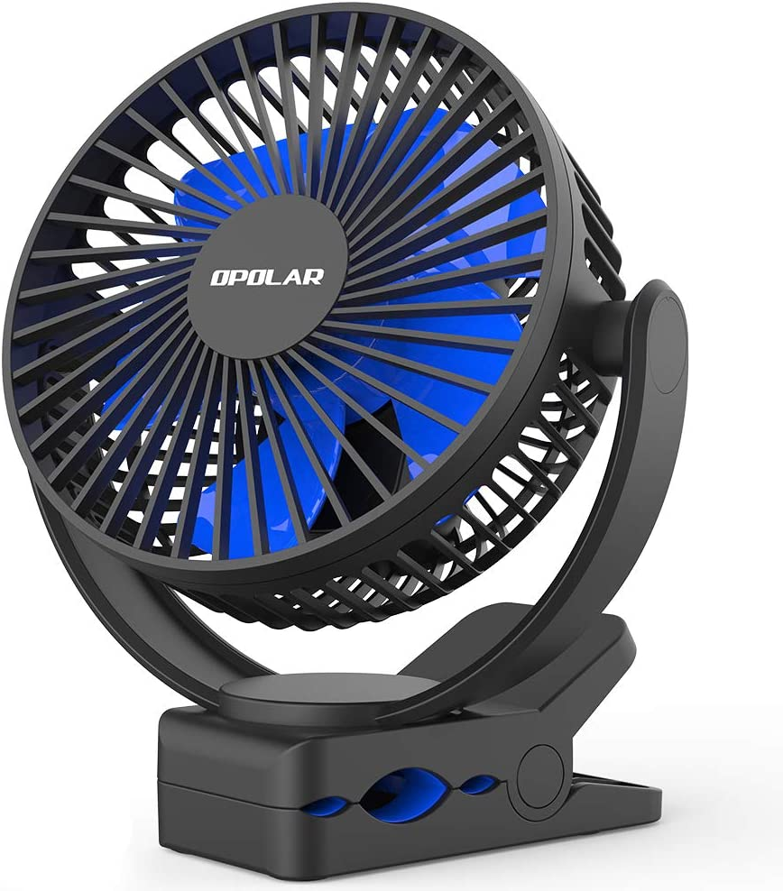 OPOLAR 2019 New 5000mAh Rechargeable Battery Operated Clip On Fan, Upgrade Quieter & Stronger Wind, 10W Fast Charge, Strong Clamp Personal Portable Fan for Golf Cart, Office Desk, Chair, Treadmill