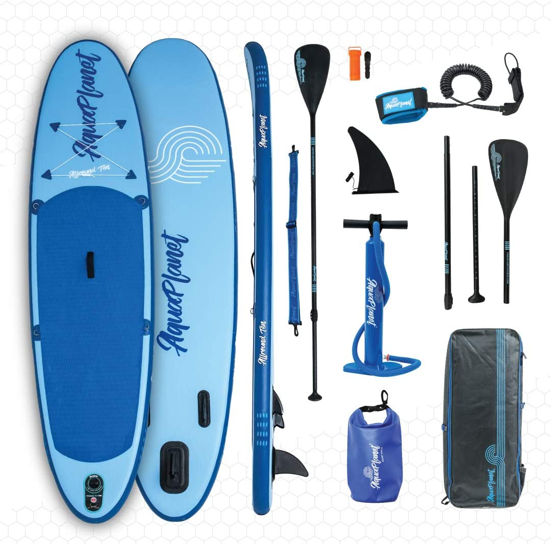 aquaplanet 10ft Allround Paddle Board - Beginner's Kit. Air Pump with Pressure Gauge,Adjustable Aluminium Floating Paddle,Repair Kit,Heavy Duty Carry Rucksack & Premium Leash & 4 Kayak Seat Rings