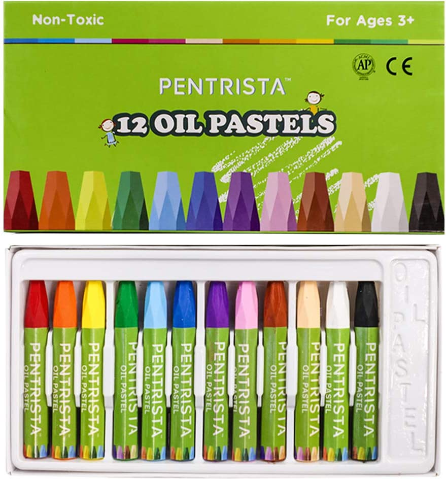 PENTRISTA Oil Pastels 12 Vibrant Assorted Colors Drawing Pastel,for Kids Indoor Activities At Home,Art&School Supplies: Office Products