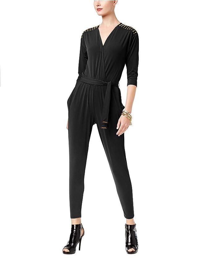 a37ebd7e61f MICHAEL Michael Kors Women s Petite Embellished Surplice Jumpsuit Black  Medium