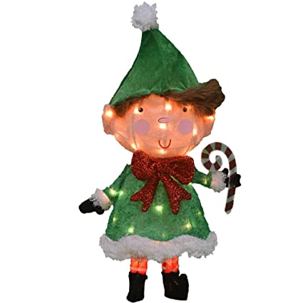 Product Works 24 Inch Pre Lit 3d Victoria Hutto Elf Christmas Yard Decoration 35 Lights