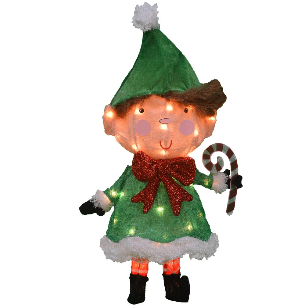 ProductWorks 24-Inch Pre-Lit 3D Victoria Hutto Elf Christmas Yard Decoration, 35 Lights