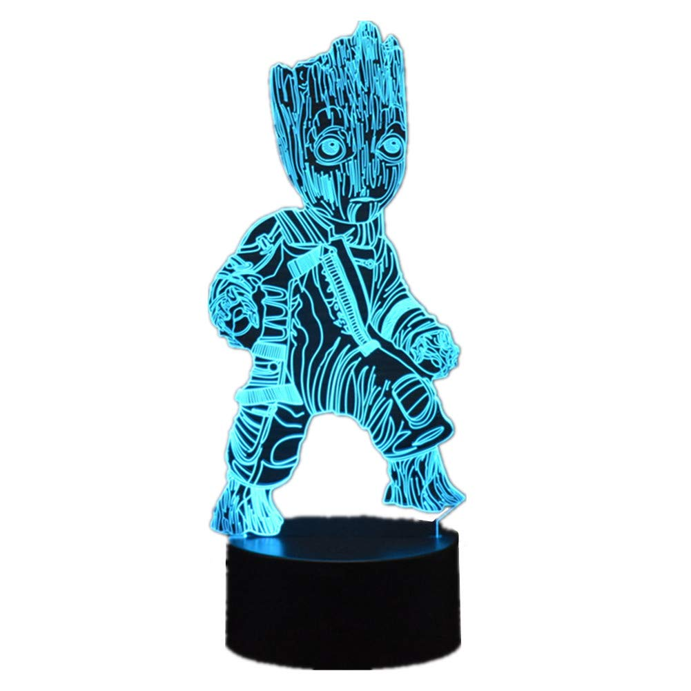 Groot 3D Acrylic LED Night Light Lamp For kids USB Desk Light Touch 7 Color Remote Control 16 Color with USB Power/ABS Base Home Decor Creative Christmas Gift