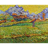 A Meadow in the Mountains - Le Mas de Saint-Paul - Vincent van Gogh high quality hand-painted oil painting reproduction (28.74 x 36 inches)