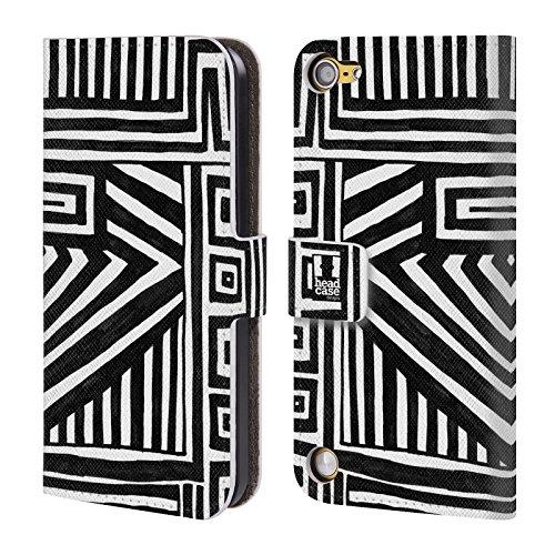 Head Case Designs Grafica Geometrica Doodle Pattern Bianchi E Neri Cover a portafoglio in pelle per iPod Touch 5th Gen / 6th Gen