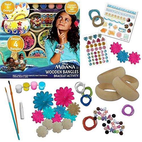 Moana Fashion Kit - WOODEN BANGLES BRACELET ACTIVITY - Paint & Design, Design 4 Bangles, Decorate With Gems and (Gem Design)