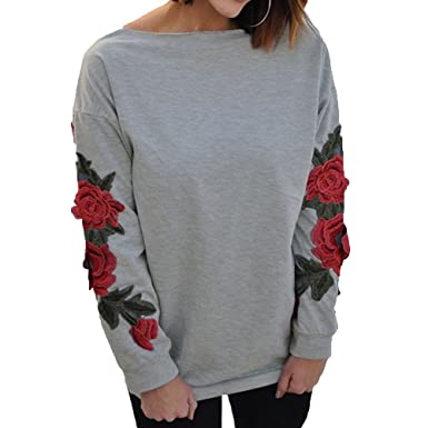 ffb87792b3403a ... Women Basic Pullover - Ladies Vintage Round Neck Rose Embroidery  Pullover Casual Long Sleeve Shirt Elegant Tops Blouse Outwear:  Amazon.co.uk: Clothing