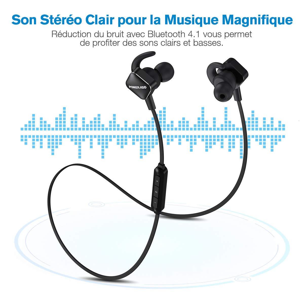 POWERADD Bluetooth Casque Sans Fil Ecouteur Bluetooth 4.1 Sport pour iPhone, Huawei, Samsung, Tablettes et les autres Smartphones