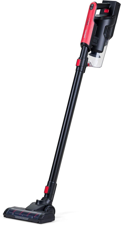 Mellerware - Aspirador Vertical sin Cable, aspiradora Escoba 120W, 10 KPA con 2 velocidades - Modo Eco - 2 cepillos incluidos (Coral)