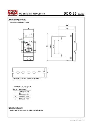 MEAN WELL DDR-30G-5 30W Din Rail DC//DC Converter O//P 1 item s 5V6A