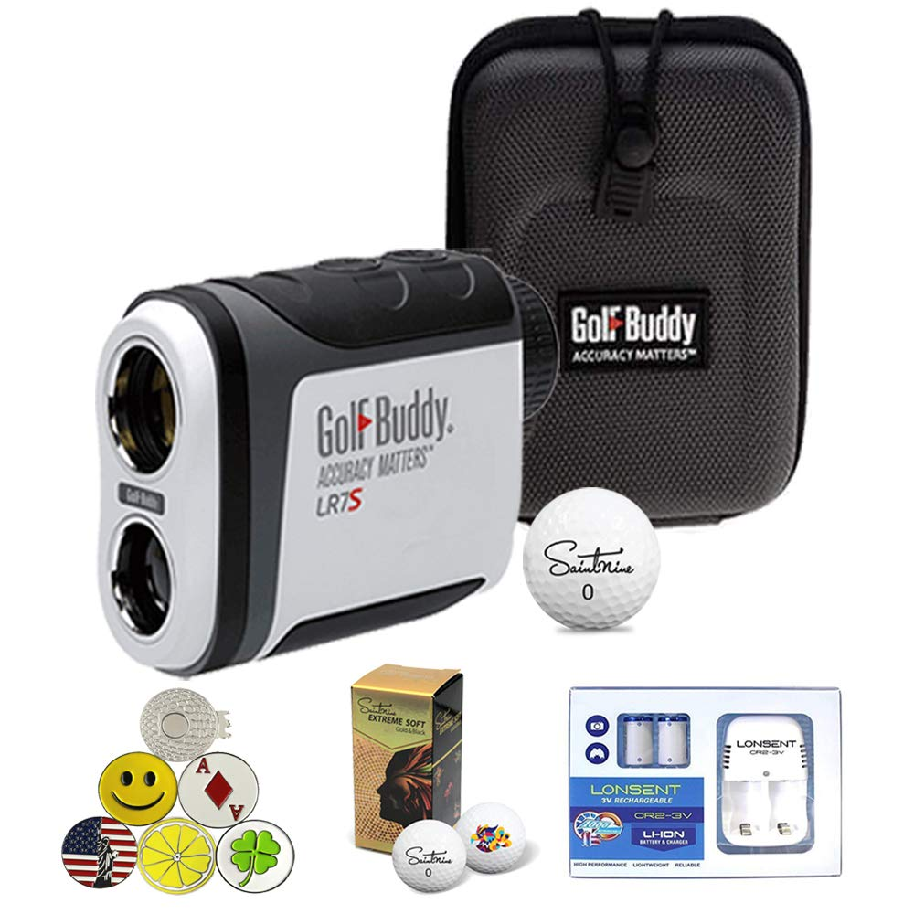 GolfBuddy LR7S Golf Laser Rangefinder Bundle with 5 Ball Markers, 1 Magnetic Hat Clip, Saintnine 2 Ball Sleeve, 2 Rechargeable CR2-3V Batteries and Battery Charger by AMBA7