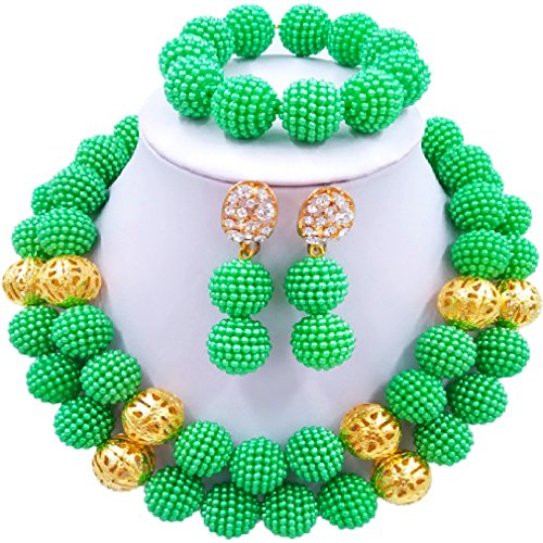 Green Monochrome Resin (laanc 2 Rows monochrome Beads Plastic Imitation pearl and Gold Plated Ball African Wedding Jewellery Sets (Green))
