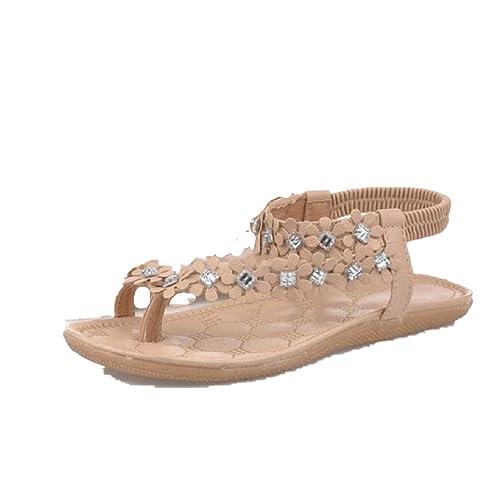 Xinan Damen Sommer Schuhe Böhmen Blumen Flip Flop Sandalen (40, Schwarz)