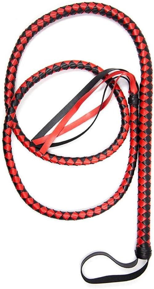 EXCEART 1.9M Látigo de Cuero para Trabajo Pesado Látigo de Montar Látigo de Vaca para Fiesta Cosplay Pareja Juguetes (Rojo Y Negro)