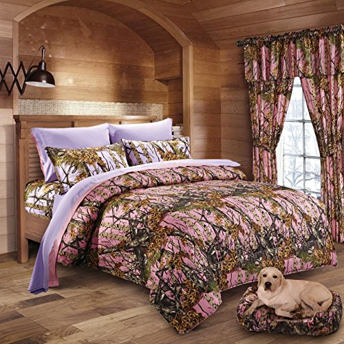 20 Lakes Woodland Hunter Camo Comforter, Sheet, & Pillowcase Set (Full, Pink & Purple) (Bedding In A Bag Full Forest)