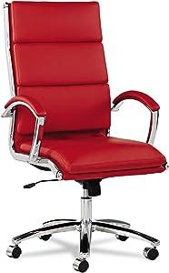 Alera, Red Neratoli Series HighBack Swivel/Tilt Chair, Soft Leather, Chrome Frame, High-Back