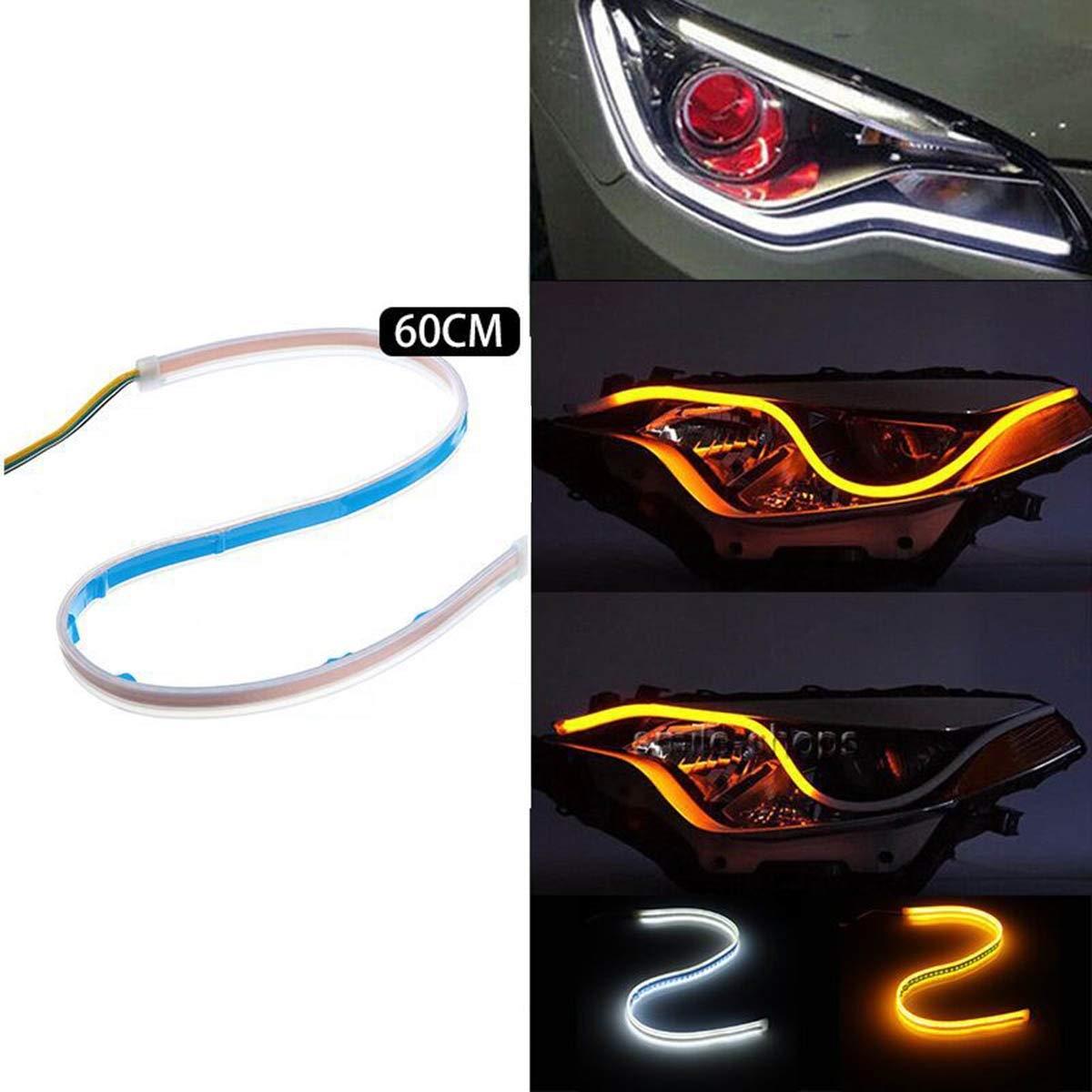 luz de se/ñal de Vuelta del Flujo secuencial Jinxuny Luz de Tira de la Linterna del Coche LED Color : Ice Blue luz Corriente Diurna