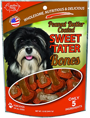 Carolina Prime Pet 45256 Peanut Butter Coated Sweet Tater Bone Treat For Dogs ( 1 Pouch), One Size