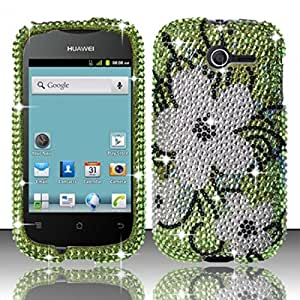 For Huawei Ascend Y M866 Full Diamond Design Case Cover - Hawaiian Flowers