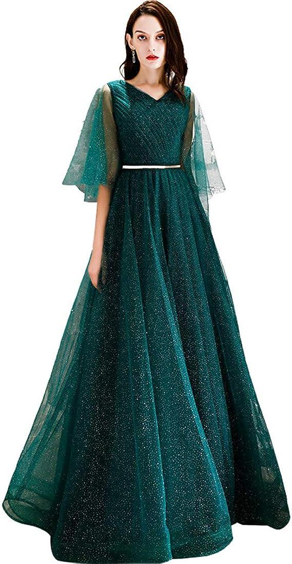 Amazon パーティードレス 緑 結婚式 ドレス 演奏会 袖あり