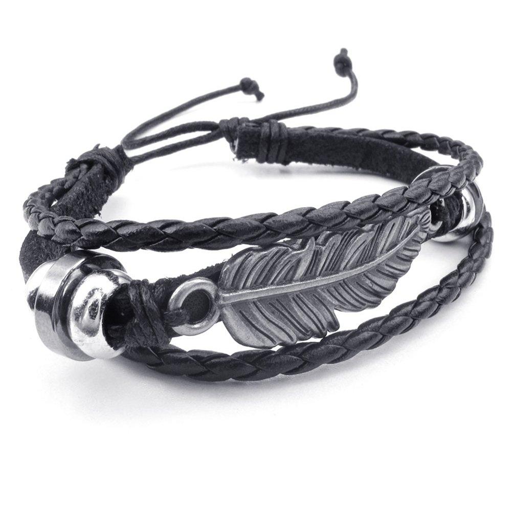 TEMEGO Jewelry Mens Womens Genuine Leather Braided Rope Bracelet, Adjustable Vintage Beads Feather Charm Bracelet, Black Silver