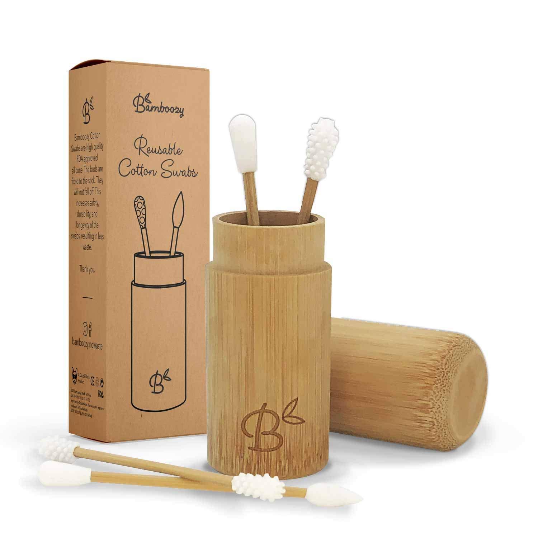 4 Nachhaltige Produkte und Zero Waste Umweltfreundlicher Ohrenreiniger 4x Bambus Wiederverwendbares Wattest/äbchen 100/% Plastikfrei f/ür Ohrreinigung mit Bambushalter