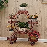 Iron balcony flower racks staircase plant stand multi-tier pot rack floor model with wheel modern simple creative for outdoor/indoor-C