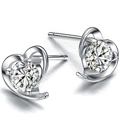 Sterling Silver Love Heart Earrings with Clear Crystal Stones 3llk3