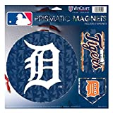 "Detroit Tigers MLB Prismatic 3 Different Die Cut Magnets On Single 11"" x 11"" Sheet Magnet"