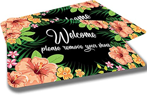 Studio M MatMates Folk Flowers Decorative Floor Mat Indoor or Outdoor Doormat with Eco-Friendly Recycled Rubber Backing, 18 x 30 Inches