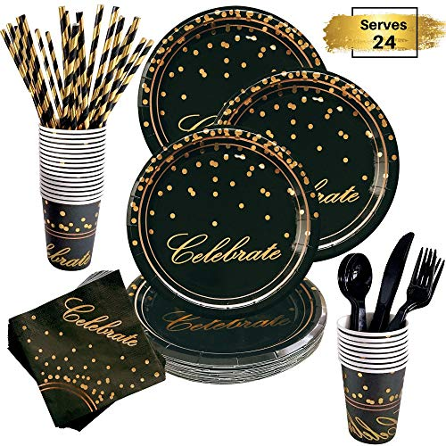 Elegant 60th Birthday Decorations (168 Piece Black and Gold Party Supplies Set | Disposable Dinnerware Set Services 24 | Includes Plastic Knives Spoons Forks Paper Plates Napkins Cups Straws | Birthday Graduation Dinner Retirement)
