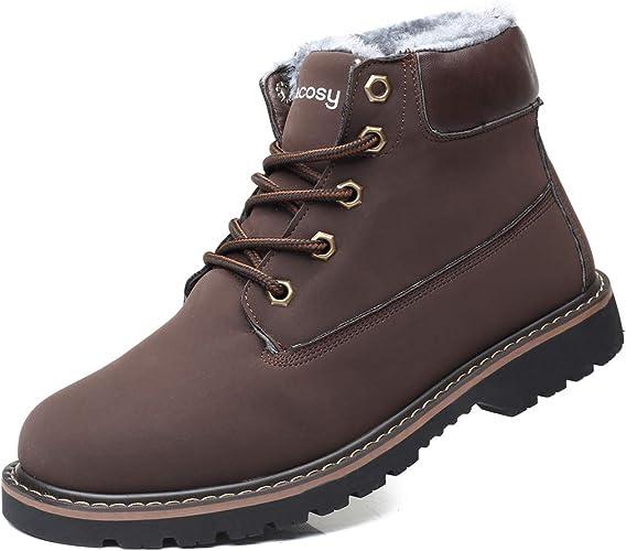 Hombres Zapatos de Nieve Invierno Botines gracosy Calentar Botas De Nieve Anti-Deslizante Lazada Zapatos Botas de Trabajo M/ás Terciopelo Botines Botas con Pieles