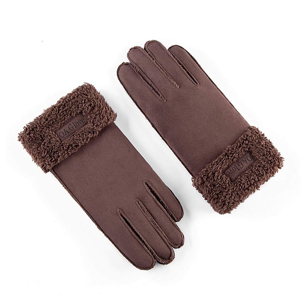 AINIYF Full Finger Motorcycle Gloves| Men's Winter Suede Outdoor Gloves Warm Winter Racing Motorcycle Thicken Windproof Plus Velvet Student (Color : Coffee color)