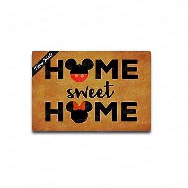Tdou Home Sweet Home Cute Doormat Entrance Floor Mat Funny Doormat Door Mat Decorative Indoor Outdoor Doormat 23.6 by 15.7 Inch Machine Washable Fabric Top