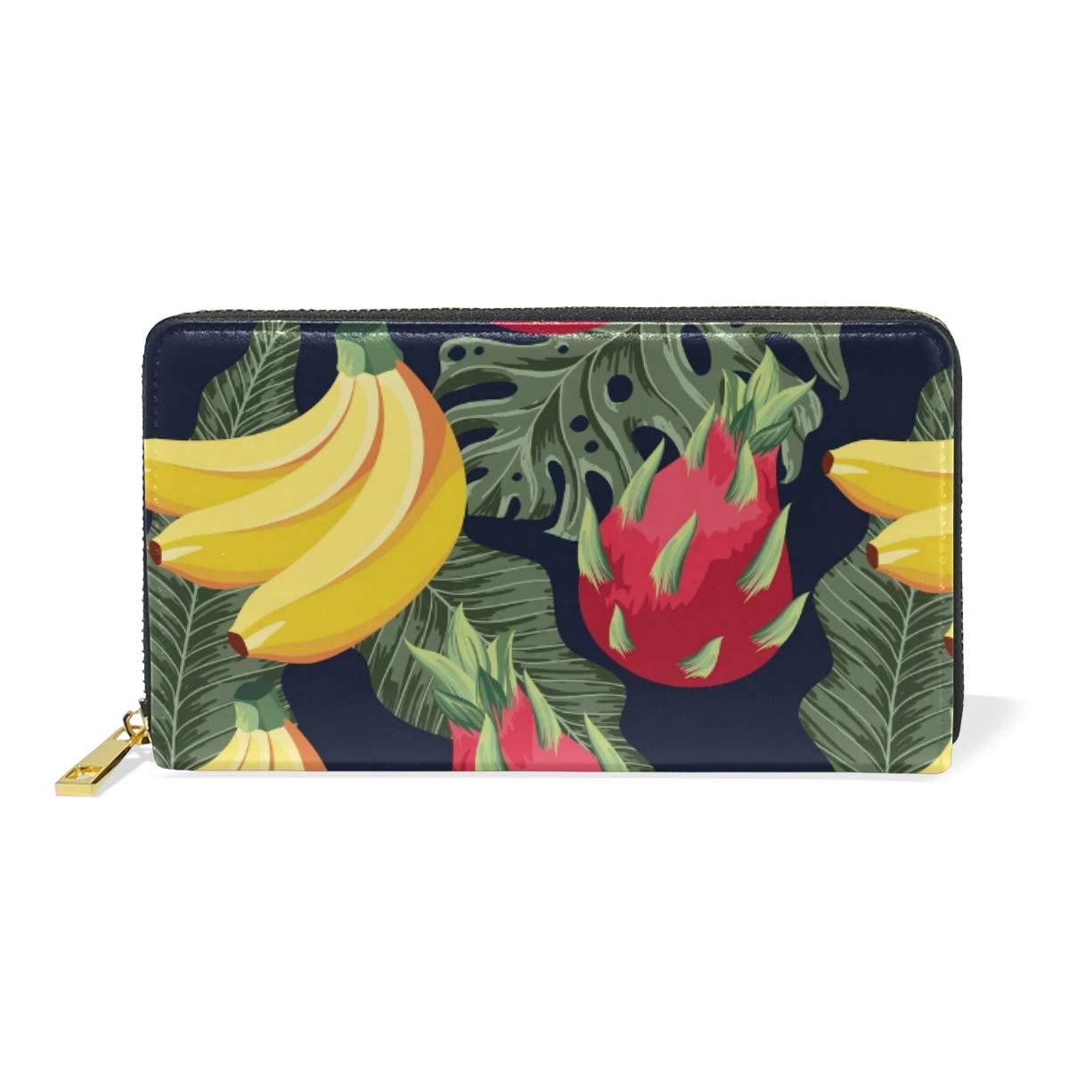 Women Wallet Coin Purse Phone Clutch Pouch Cash Bag Female Girl Card Change Holder Organizer Storage Key Hold Leather Elegant Handbag Party Birthday Gift Plant Fruit Pattern