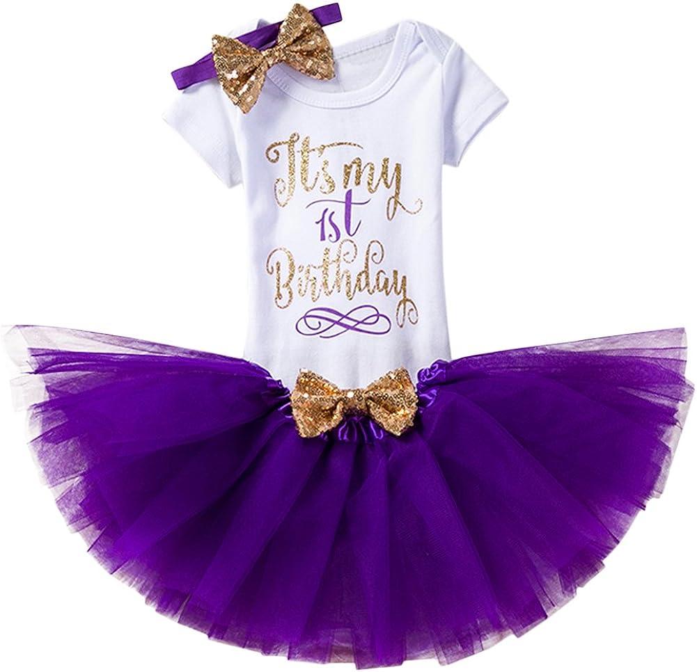 Baby Girl It's My 1st/2nd Birthday Cake Smash 3/4Pcs Shinny Sequin Bow Romper+Tutu Skirt+Headband+Leg Warmer Outfit