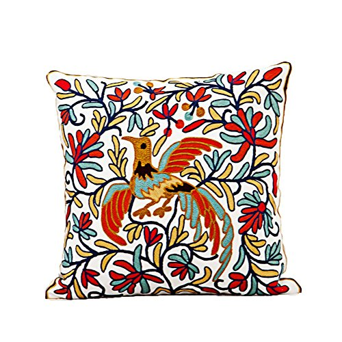 Monkeysell Wool Hand-embroidered ,Thickened by pillowcase fabric Phoenix design Cotton art Throw Pillow Cover for Bed Sofa Decorative 45x45cm(18x19inch)