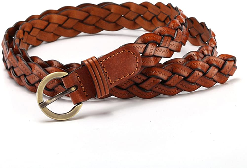 MoYoTo Women's Fashion Thin Braided Leather Belt For Dress with Buckle 20mm