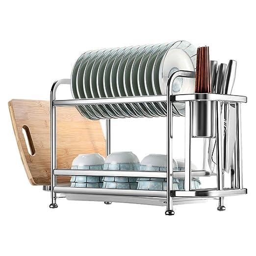 ZH Soporte de rejilla para escurridor de platos de 2 niveles con ...